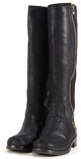 JIMMY CHOO Black Leather Gold Zip Tall Knee-High Boots