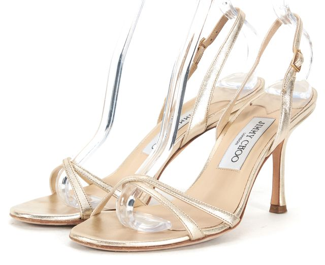 JIMMY CHOO Gold Leather Ankle Strap Sandal Heels