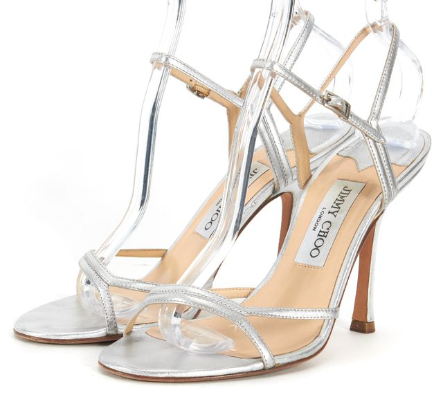 JIMMY CHOO Silver Leather Ankle Strap Sandal Heels