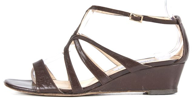 JIMMY CHOO Brown Leather T-Strap Sandal Wedges