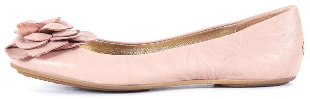 JIMMY CHOO Pink Leather Flower Embellished Ballet Flats