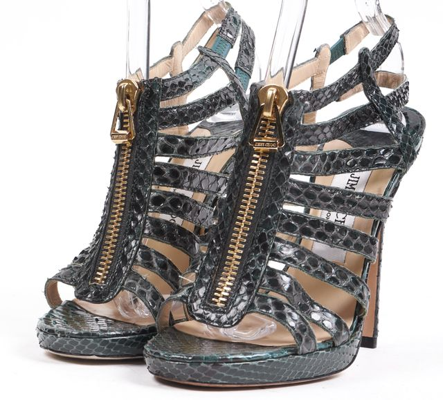 JIMMY CHOO Green Snaked Embossed Leather Caged Sandal Heels