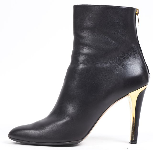 JIMMY CHOO Black Leather Gold Tone Heels Tall Ankle Boots