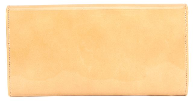 JIMMY CHOO Beige Patent Leather Reese Large Rectangular Wallet Clutch