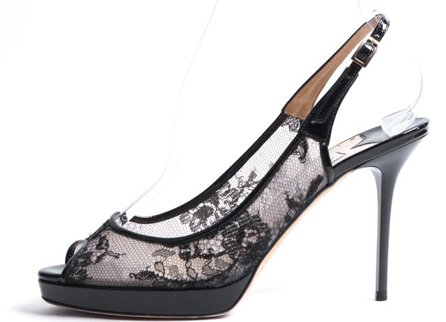 JIMMY CHOO Black Lace Mesh Patent Leather Trim Peep Toe Slingback Heels