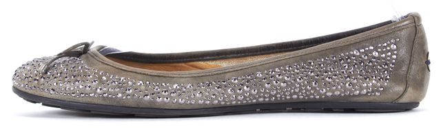 JIMMY CHOO Gray Leather Rock Stud Embellished Ballet Flats