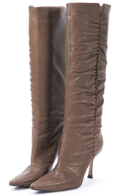 JIMMY CHOO Brown Leather Slouchy Pointed Toe Heeled Knee-High Boots