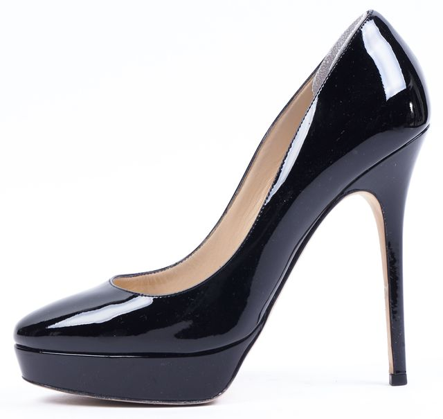 JIMMY CHOO Black Patent Leather Cosmic Platform Heels