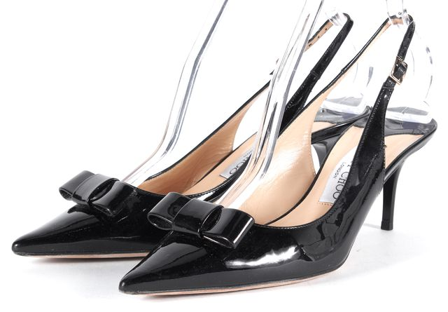 JIMMY CHOO Solid Black Patent Leather Pointed Slingback Heel