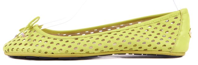 JIMMY CHOO Neon Yellow Perforated Leather Flats