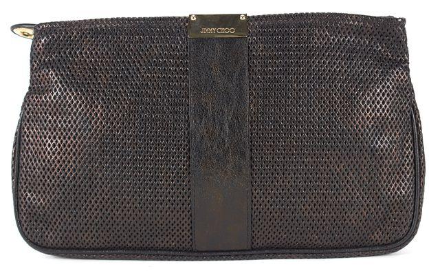 JIMMY CHOO Black Bronze Iridescent Laser Cut Leather Zip Clutch