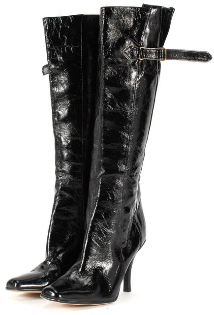 JIMMY CHOO Black Patent Leather Knee-high Boot Tall Boots