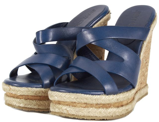 JIMMY CHOO Navy Blue Leather Espadrille Wedge Heels