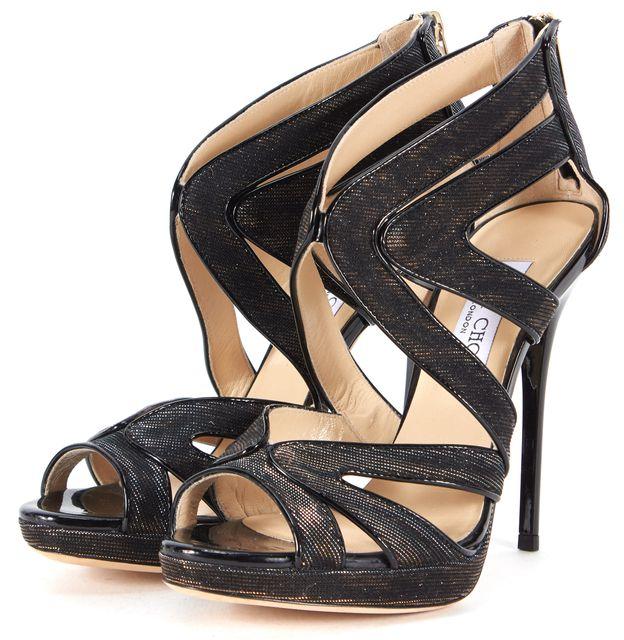 JIMMY CHOO Gold Black Canvas Glitter Cage Sandal Heels