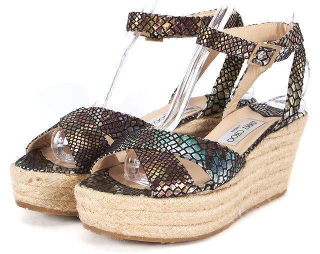 JIMMY CHOO Multi-color Snakeskin Print Leather Sandal Wedges Size EU 41 US 11