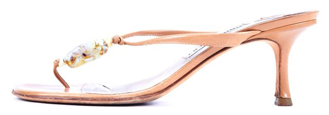 JIMMY CHOO Beige Stone Embellished Leather Sandal Heels
