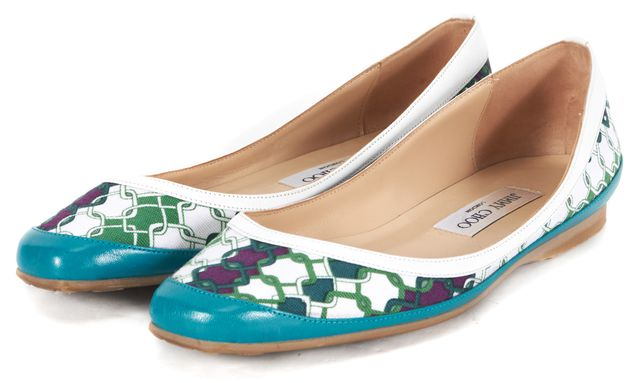 JIMMY CHOO Blue White Green Chain Link Printed Canvas Leather Trim Flats