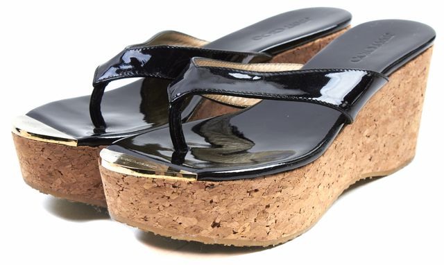 JIMMY CHOO Black Vernice Patent Leather Cork Sandal Platforms