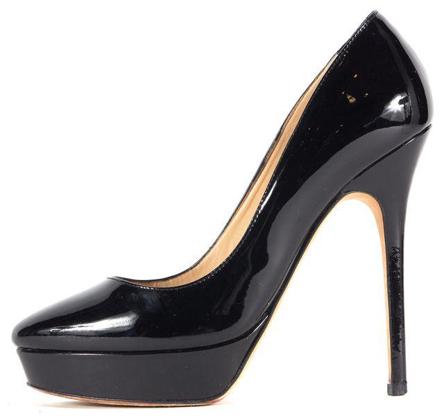 JIMMY CHOO Black Patent Leather Cosmic Platform Heels