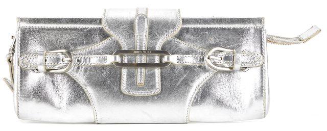 JIMMY CHOO Silver Leather Tulita Wristlet Clutch Bag