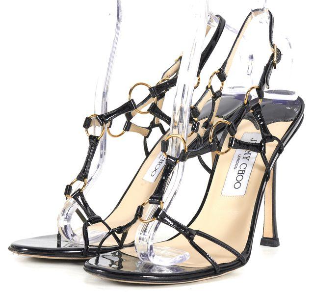 JIMMY CHOO Black Patent Leather Helium Sandal Heels