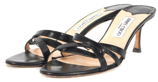 JIMMY CHOO Black Leather Slip-On Sandal Heels