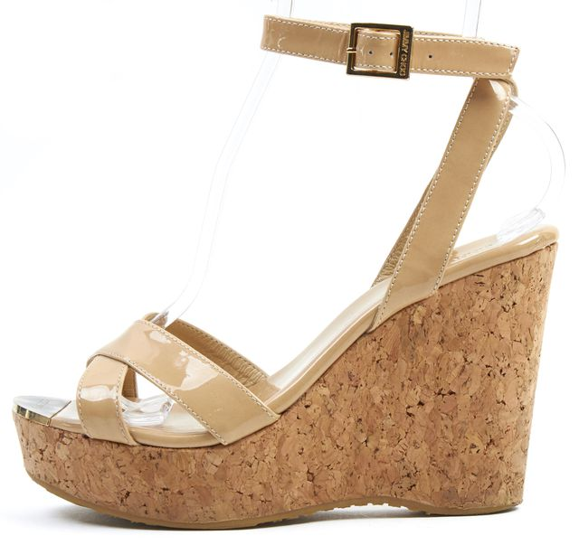 JIMMY CHOO Beige Patent Leather Papyrus Sandal Wedges