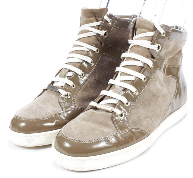 JIMMY CHOO Brown Suede Patent Leather High Top Tokyo Sneakers