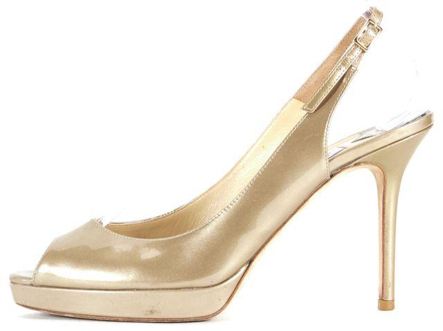 JIMMY CHOO Gold Patent Leather Peep Toe Slingback Heels