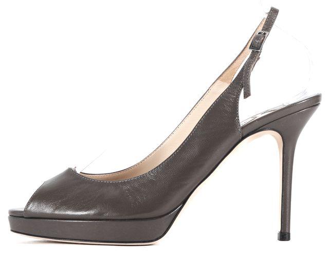 JIMMY CHOO Gray Leather Peep Toe Slingback Heels