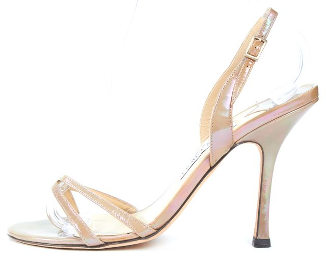 JIMMY CHOO Beige Patent Leather Iridescent Strappy Slingback Heels