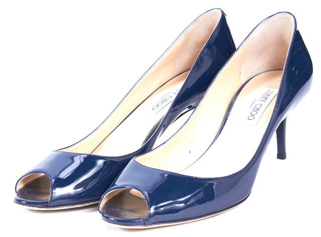 JIMMY CHOO Navy Blue Patent Leather Isabel Peep Toe Pump Heels
