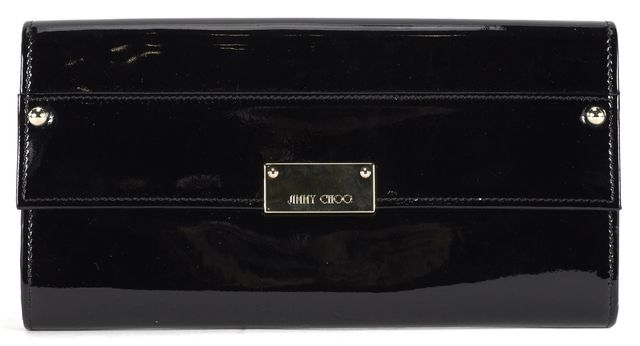 JIMMY CHOO Black Patent Leather Gold Hardware Wallet Clutch