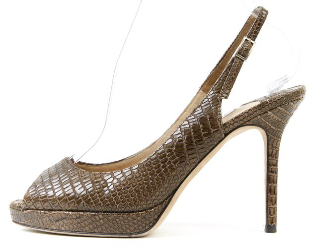 JIMMY CHOO Olive Green Embossed Leather Slingback Heels