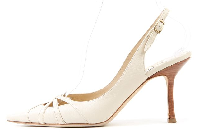JIMMY CHOO Beige Cutout Leather Pointed Toe Slingback Heels