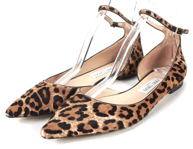JIMMY CHOO Brown Black Leopard Print Calf Hair Lucy d'Orsay Flat