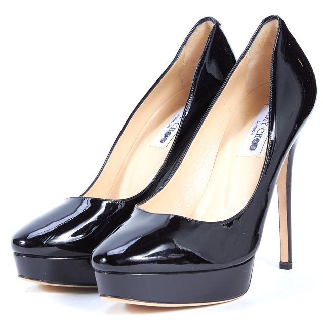 JIMMY CHOO Black Patent Leather Platform Pumps Heels