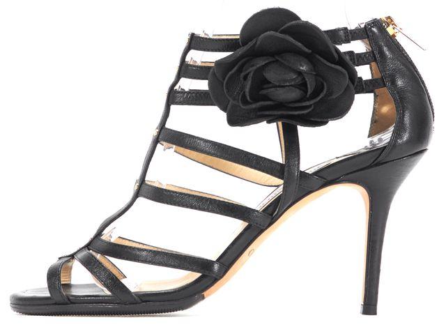 JIMMY CHOO Black Flower Embellished Leather Caged Sandal Heels