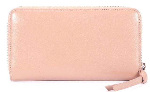 JIMMY CHOO Metallic Pink Leather Zip Around Wallet