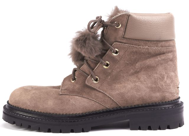JIMMY CHOO Brown Suede Fur Ankle Combat Boots