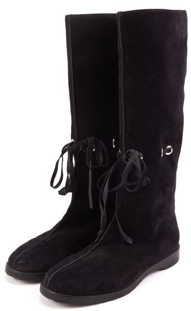 JIMMY CHOO Black Suede Fur Lined Lace Front Mid-Calf Winter Boots