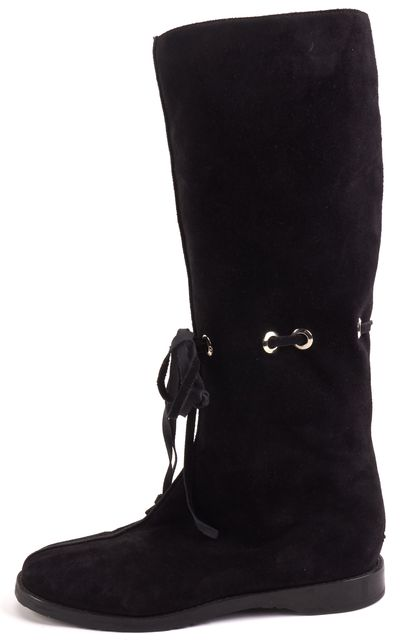 ... JIMMY CHOO Black Suede Fur Lined Lace Front Mid-Calf Winter Boots