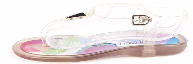 JIMMY CHOO Multi-color Floral T-Strap Sandals