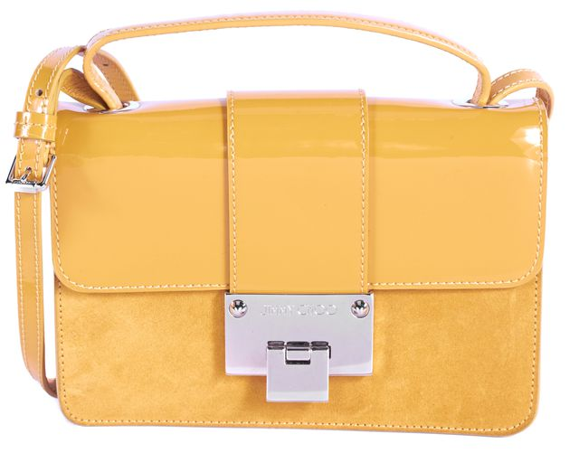 JIMMY CHOO Yellow Patent Leather Suede Gold-Tone Hardware Rebel Crossbody