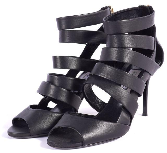 JIMMY CHOO Black Leather Open Toe Heels
