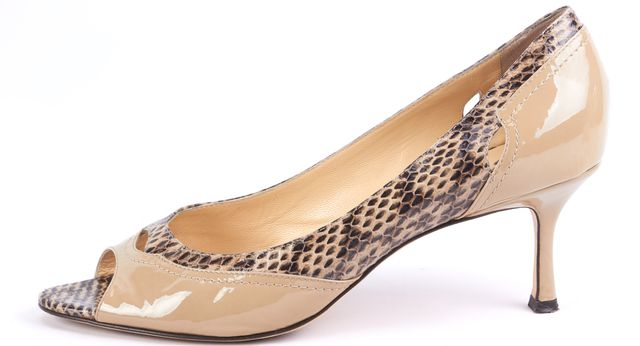 JIMMY CHOO Beige Snake Skin Embossed Patent Leather Open Toe Heels