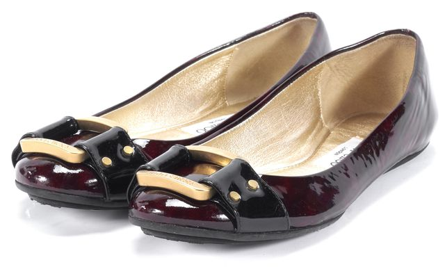 JIMMY CHOO Brown Animal Print Gold Buckle Patent Leather Flats
