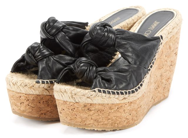 JIMMY CHOO Black Priory Double Knotted Slip-On Espadrille Wedges