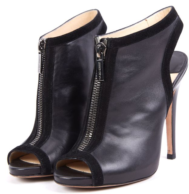 JIMMY CHOO Black Open Toe Leather Bootie Heels