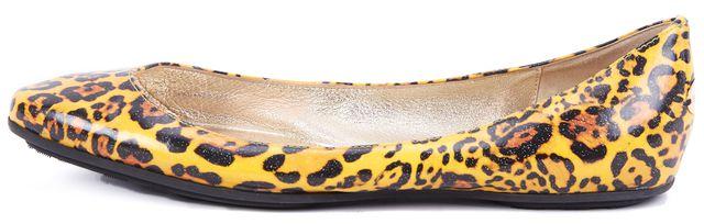 JIMMY CHOO Yellow Glitter Leopard Print Ballet Leather Flats